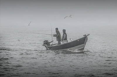 Trolling For Salmon In The Fog Poster by Randall Nyhof