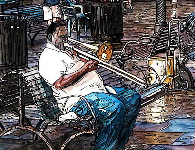 Trombone Player In Jackson Square Poster by John Boles