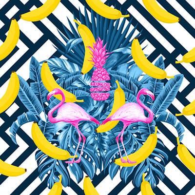 Tropical Banana Pink   Poster by Mark Ashkenazi