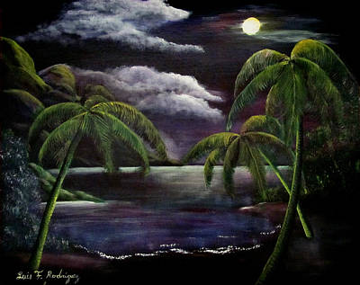 Tropical Moonlight Poster by Luis F Rodriguez