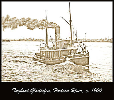 Tugboat Gladisfen Hudson River C 1900 Vintage Photograph Poster by A Gurmankin