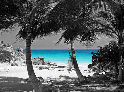 Tulum Mexico Beach Color Splash Black And White Poster by Shawn O'Brien