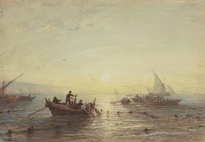Tuna Fishing At Sunrise Off The Coast Near Marseilles Poster by Felix Ziem