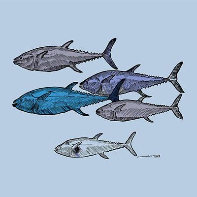 Tuna School Of Fish Poster by Karl Addison