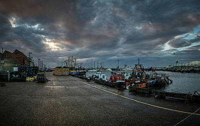 Turbulent Sky Over Scarborough Harbour. Poster by Cliff Miller
