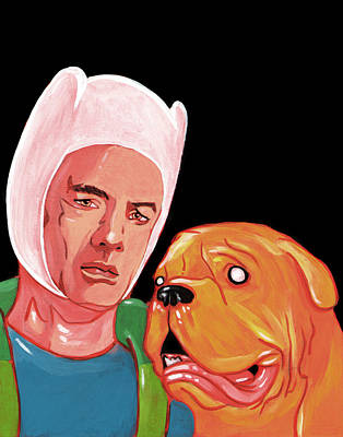 Turnery And Hooch Meets Adventure Time  Poster by Jason  Wright