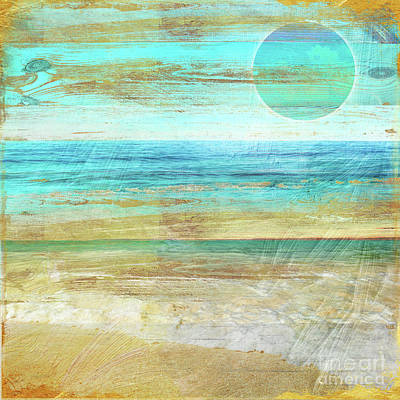 Turquoise Moon Day Poster by Mindy Sommers