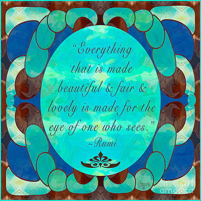 Turquoise Rumi Abstract Art By Omashte Poster by Omaste Witkowski