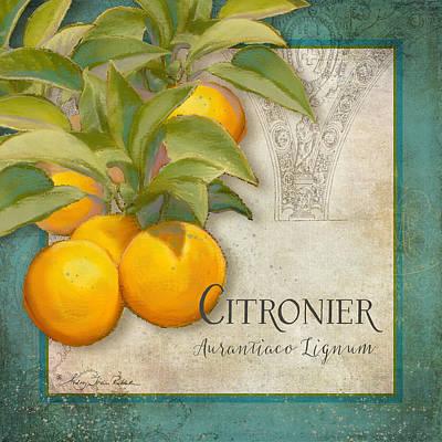 Tuscan Orange Tree - Citronier Aurantiaco Lignum Vintage Poster by Audrey Jeanne Roberts