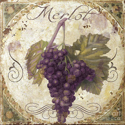 Tuscan Table Merlot Poster by Mindy Sommers