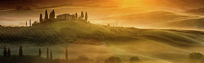 Tuscany In Golden Poster by Evgeni Dinev