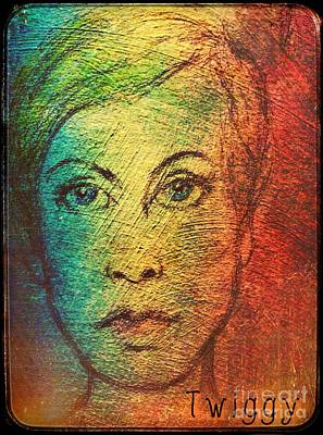 Twiggy In Oils Poster by Joan-Violet Stretch