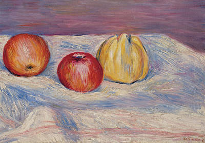 Two Apples And A Quince Poster by Pierre Auguste Renoir