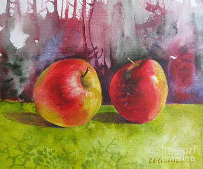 Two Apples Poster by Elena Oleniuc