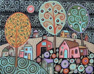 Two Cats Village Poster by Karla Gerard