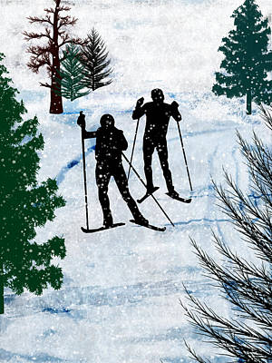 Two Cross Country Skiers In Snow Squall Poster by Elaine Plesser
