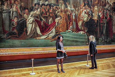 Two Female Tourists In Front Of The Coronation Of Napoleon  Poster by Patricia Hofmeester