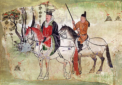 Two Horsemen In A Landscape Poster by Chinese School