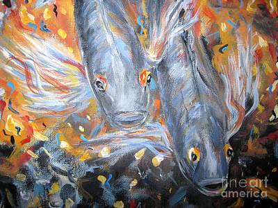 Two Koi Fish. Image Of  Painting Poster by Oksana Semenchenko