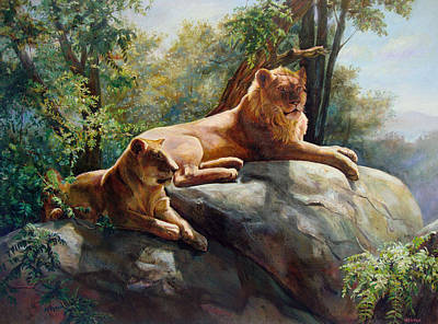 Two Lions - Forever And Always Together Poster by Svitozar Nenyuk