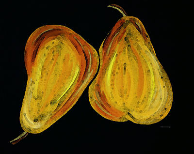Two Pears - Yellow Gold Fruit Food Art Poster by Sharon Cummings