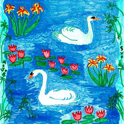 Two Swans Poster by Sushila Burgess