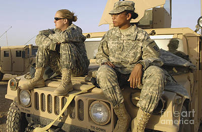 Two U.s. Army Soldiers Relax Prior Poster by Stocktrek Images
