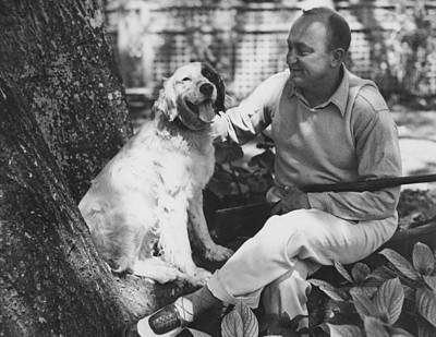 Ty Cobb With His Dog Poster by Underwood Archives