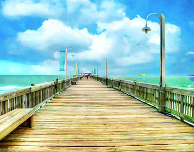 Tybee Island Pier In Watercolor Poster by Tammy Wetzel
