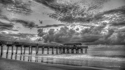 Tybee Island Pier Sunrise Cloud Cover Poster by Reid Callaway