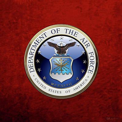 U. S.  Air Force  -  U S A F Emblem Over Red Velvet Poster by Serge Averbukh