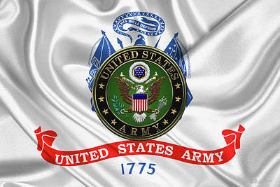 U. S.  Army Emblem Over United States Army Flag Poster by Serge Averbukh