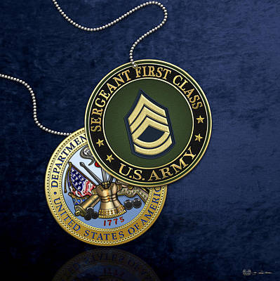 U. S. Army Sergeant First Class Rank Insignia And Army Seal Over Blue Velvet Poster by Serge Averbukh