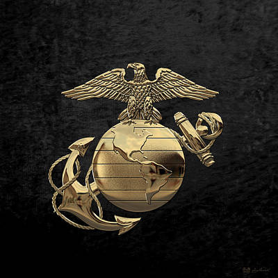 U S M C Eagle Globe And Anchor - N C O And Enlisted E G A Over Black Velvet Poster by Serge Averbukh