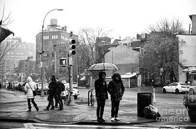 Umbrella On 7th Avenue Poster by John Rizzuto