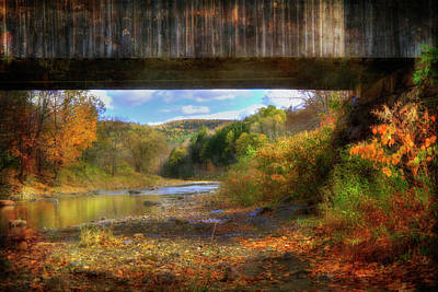 Under The Lincoln Covered Bridge - Woodstock, Vt. Poster by Joann Vitali