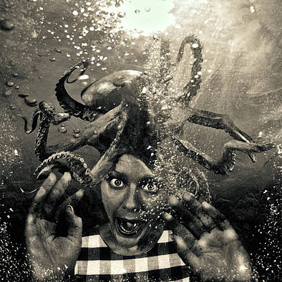 Underwater Nightmare Black And White Poster by Marian Voicu