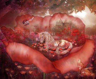 Unicorn Of The Poppies Poster by Carol Cavalaris