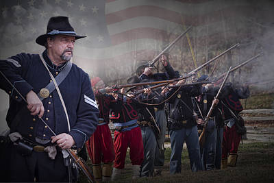 Union Soldier Reenactors Poster by Randall Nyhof