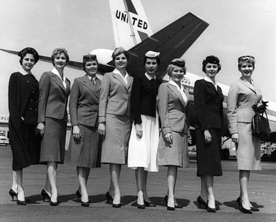 United Airlines Stewardesses Model Poster by Everett