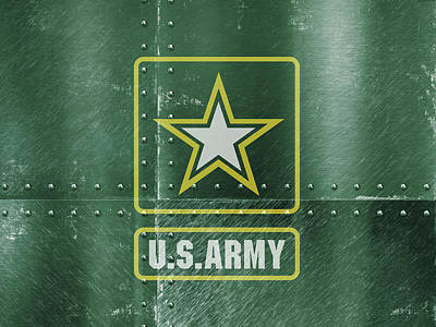 United States Army Logo On Green Steel Tank Poster by Design Turnpike