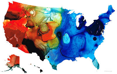 United States Of America Map 4 - Colorful Usa Poster by Sharon Cummings
