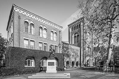 University Of Southern California Admin Bldg With Tommy Trojan Poster by University Icons
