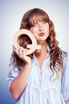 Unsure Female Student With Letter Q For Question Poster by Jorgo Photography - Wall Art Gallery