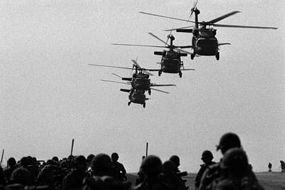 U.s. Army Black Hawk Helicopters Depart Poster by Everett