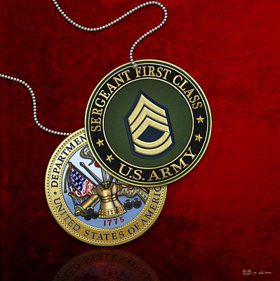 U.s. Army Sergeant First Class Rank Insignia And Army Seal Over Red Velvet Poster by Serge Averbukh