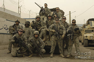 U.s. Army Soldiers Pose For A Photo Poster by Stocktrek Images