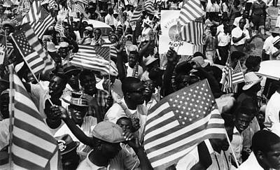 Us Civil Rights. Demonstrators Rallying Poster by Everett