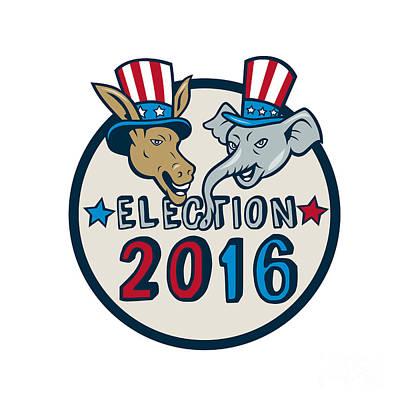 Us Election 2016 Mascot Donkey Elephant Circle Cartoon Poster by Aloysius Patrimonio