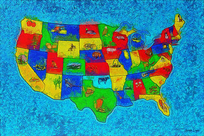 Us Map With Theme  - Special Finishing -  - Pa Poster by Leonardo Digenio